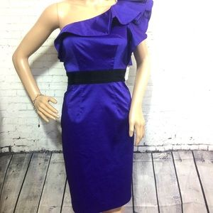 Purple one Ruffle Shoulder Prom Cocktail Dress